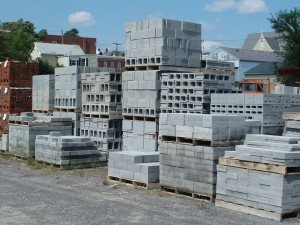 Steffey & Findlay concrete blocks on pallets